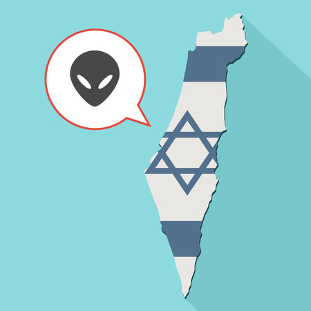 Animation of a long shadow Israel map with its flag and a comic balloon with alien face Stock Photo