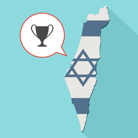 first nations: Animation of a long shadow Israel map with its flag and a comic balloon with a trophy Stock Photo