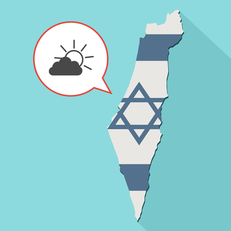 Animation of a long shadow Israel map with its flag and a comic balloon with a sun shining behind a cloud