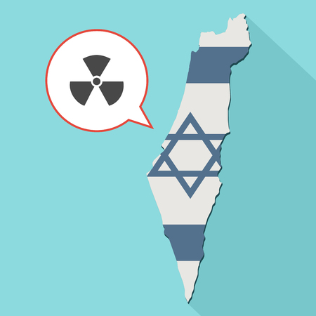poison sign: Animation of a long shadow Israel map with its flag and a comic balloon with radioactive sign