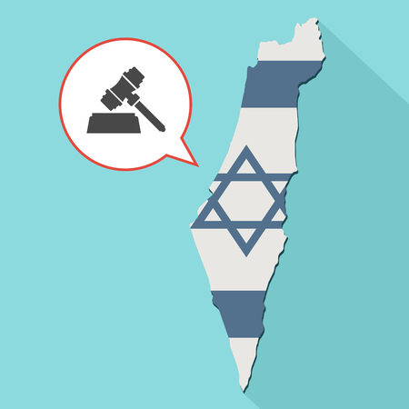 Animation of a long shadow Israel map with its flag and a comic balloon with a judge gavel