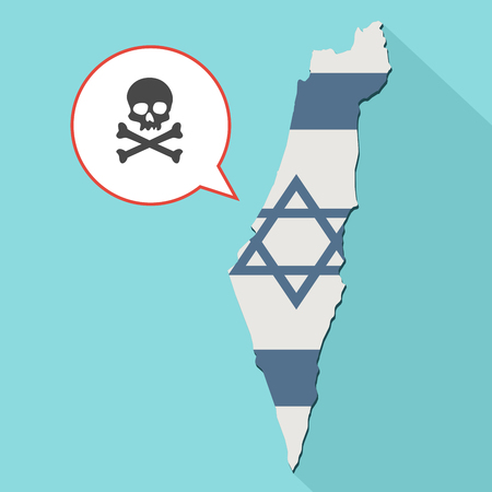 poison sign: Animation of a long shadow Israel map with its flag and a comic balloon with a skull symbol