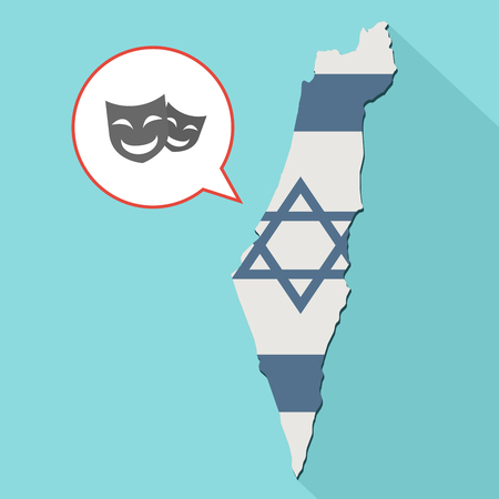 Animation of a long shadow Israel map with its flag and a comic balloon with a happy theater masks