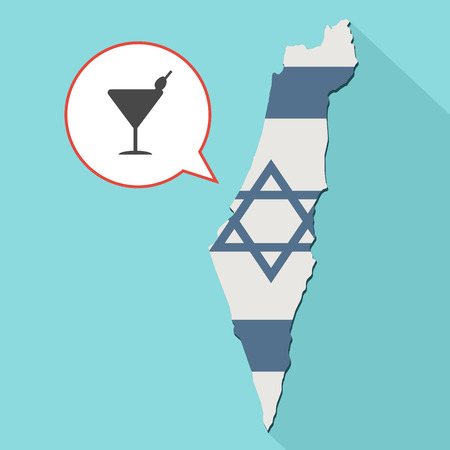 Animation of a long shadow Israel map with its flag and a comic balloon with cocktail glass Stock Photo