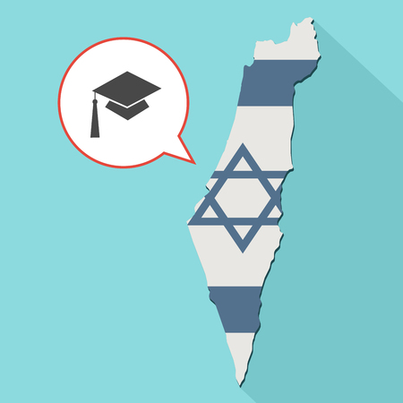 Animation of a long shadow Israel map with its flag and a comic balloon with a graduation cap Stock Photo
