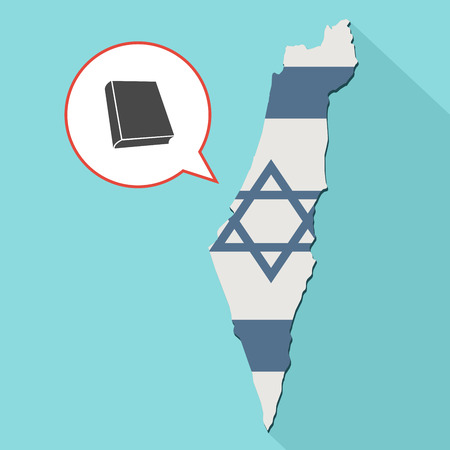 Animation of a long shadow Israel map with its flag and a comic balloon with a closed book Stock Photo