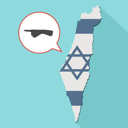 Animation of a long shadow Israel map with its flag and a comic balloon with a pointing finger hand
