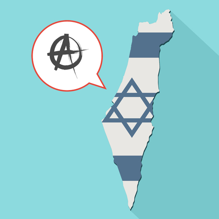 politic: Animation of a long shadow Israel map with its flag and a comic balloon with an anarchy sign Stock Photo