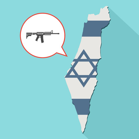 Animation of a long shadow Israel map with its flag and a comic balloon with a rifle sign