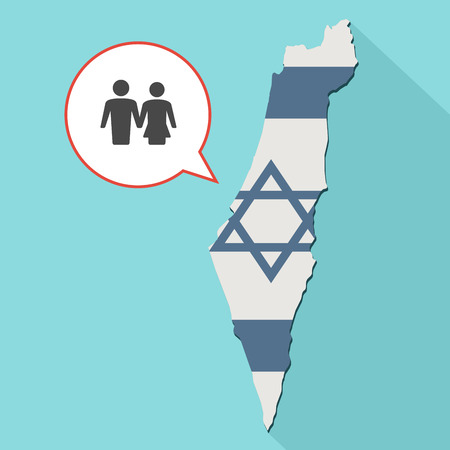 Animation of a long shadow Israel map with its flag and a comic balloon with a heterosexual couple pictogram Stock Photo