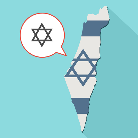 jewish star: Animation of a long shadow Israel map with its flag and a comic balloon with a jewish star of david Stock Photo