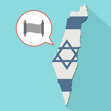 Animation of a long shadow Israel map with its flag and a comic balloon with a torah scroll