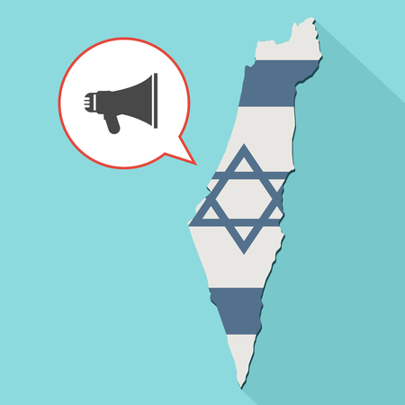 Animation of a long shadow Israel map with its flag and a comic balloon with a megaphone icon