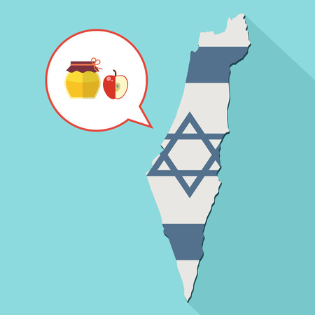 Animation of a long shadow Israel map with its flag and a comic balloon with a honey jar and apple