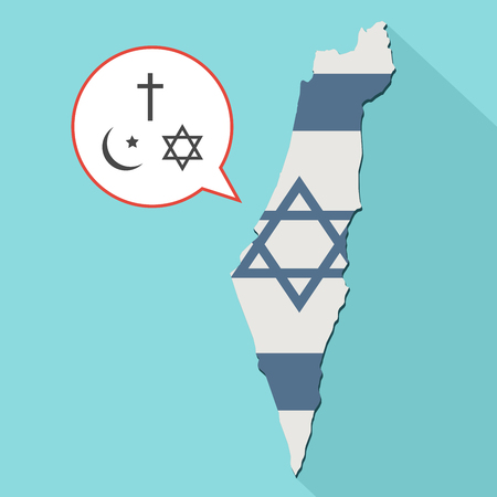 jewish star: Animation of a long shadow Israel map with its flag and a comic balloon with all three main monotheism religions