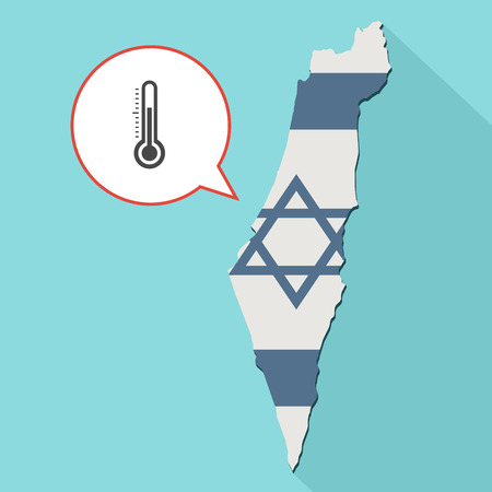 Animation of a long shadow Israel map with its flag and a comic balloon with a thermometer icon Stock Photo