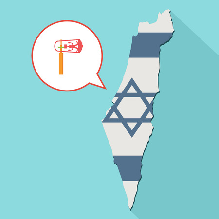 Animation of a long shadow Israel map with its flag and a comic balloon with a purim gragger.