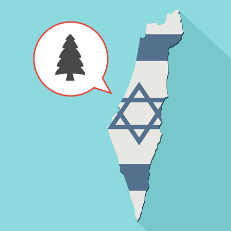 Animation of a long shadow Israel map with its flag and a comic balloon with a spruce tree