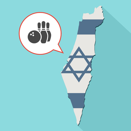 Animation of a long shadow Israel map with its flag and a comic balloon with a bowling game