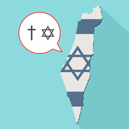 Animation of a long shadow Israel map with its flag and a comic balloon with christianity and judaism religions symbols