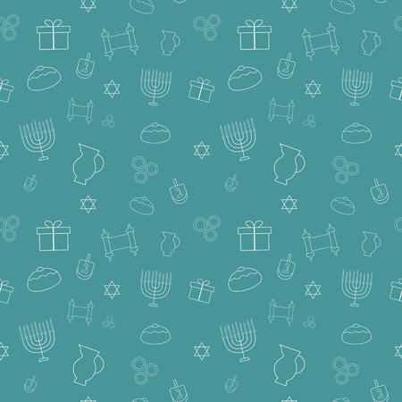 Hanukkah holiday flat design white thin line icons seamless pattern. Illustration