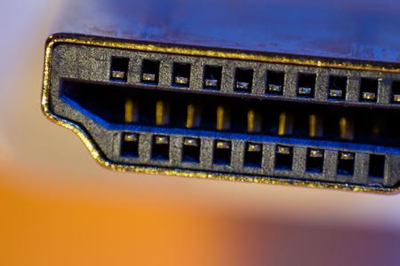 Macro closeup of HDMI cable connector.