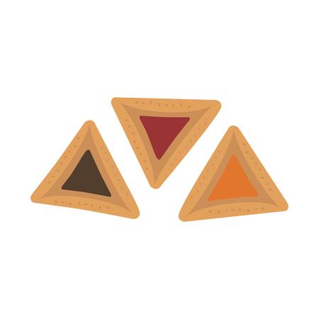 Purim holiday hamantashs flat design icon. Vector eps10 illustration. Illustration
