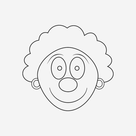 Happy clown face flat black outline design icon. Vector illustration.