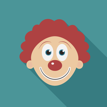 Happy clown face flat long shadow design icon. Vector eps10 illustration. Illustration