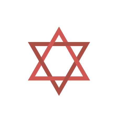 Star of david flat design icon. Vector eps10 illustration.