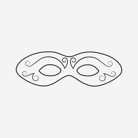 Carnival mask flat black outline design icon. Vector eps10 illustration.