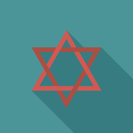 Star of david flat long shadow design icon. Vector eps10 illustration.