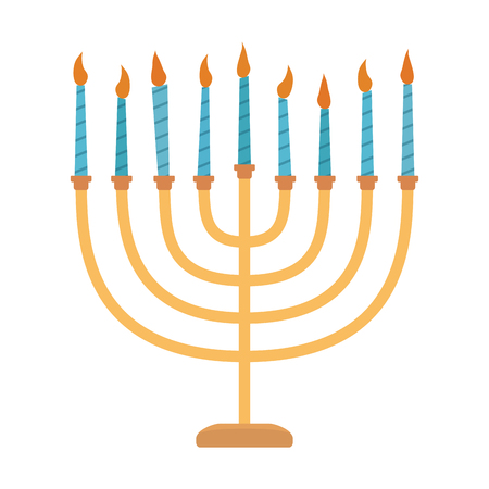 Hanukkah holiday Menora flat design icon. Vector eps10 illustration. Illustration