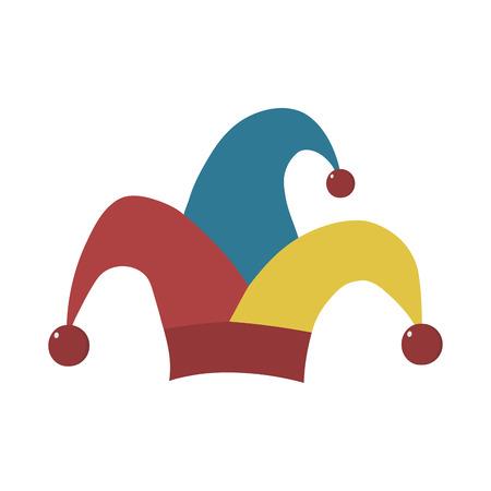 Clown jester hat flat design icon. Vector eps10 illustration.