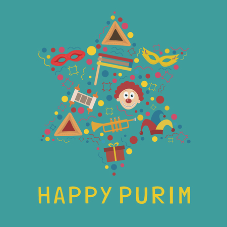 Purim holiday flat design icons set in star of david shape with text in english Happy Purim Vector illustration. Illustration