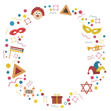 Frame with purim holiday flat design icons. Template with space for text, isolated on background. Vector eps10 illustration. Illustration