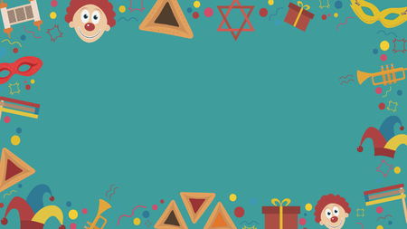 Frame with purim holiday flat design icons. Template with space for text, isolated on background.