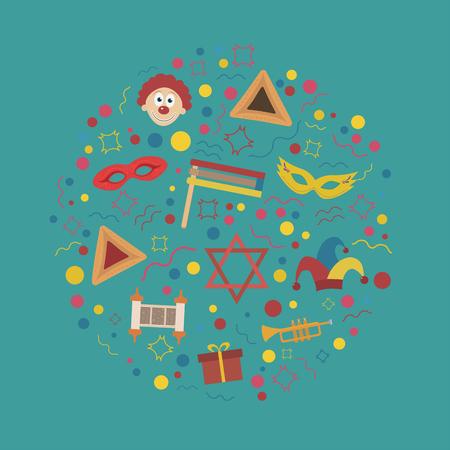Purim holiday flat design icons set in round shape. Vector eps10 illustration. Illustration