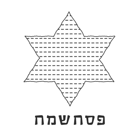 Passover holiday flat design black thin line icons of matzot in star of david shape with text in hebrew Pesach Sameach meaning Happy Passover.