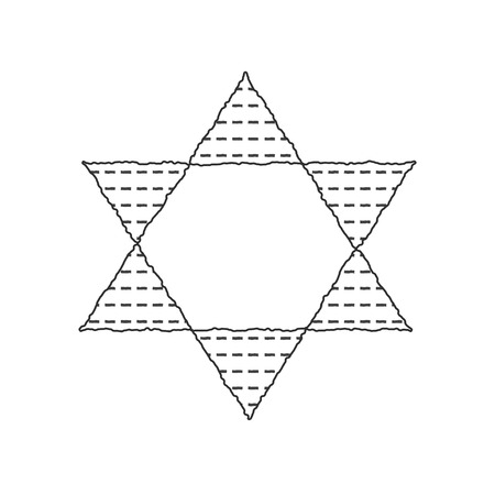 Passover holiday flat design black thin line icons of matzot in star of david shape.