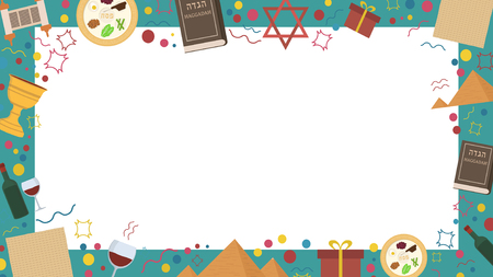 Frame with Passover holiday flat design icons. Template with space for text, isolated on background. Stock Photo