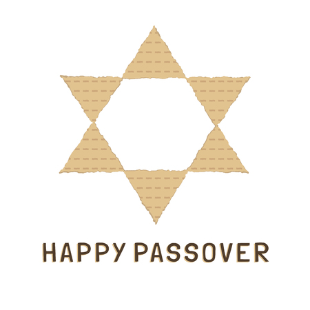 Passover holiday flat design icons of matzot in star of david shape with text in english Happy Passover.