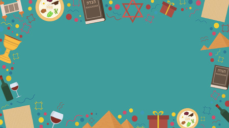 Frame with Passover holiday flat design icons. Template with space for text, isolated on background.