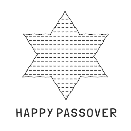 Passover holiday flat design black thin line icons of matzot in star of david shape with text in english Happy Passover.
