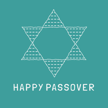Passover holiday flat design white thin line icons of matzot in star of david shape with text in english Happy Passover.