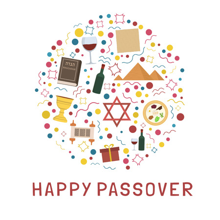 Passover holiday flat design icons set in round shape with text in english