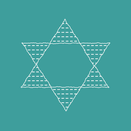 Passover holiday flat design white thin line icons of matzot in star of david shape.