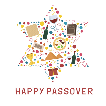 "Passover holiday flat design icons set in star of david shape with text in english ""Happy Passover""."