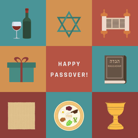Passover holiday flat design icons set with text in english