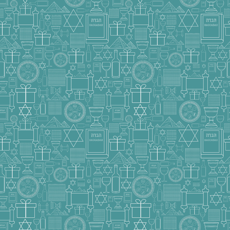 Passover holiday flat design white thin line icons seamless pattern.